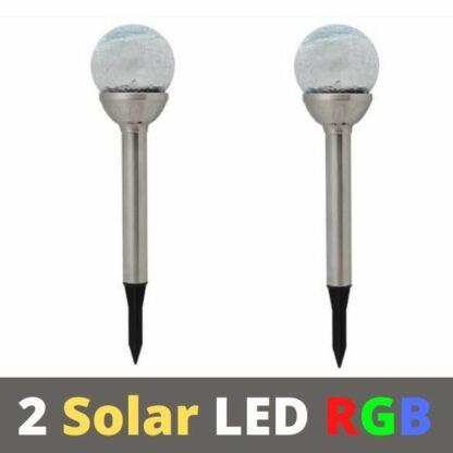 2 RGB Соларни LED лампи