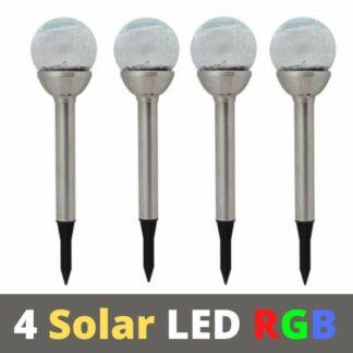 4 RGB Соларни LED лампи
